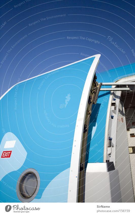 60 [exit] Ferien & Urlaub & Reisen Sommer Technik & Technologie Luftverkehr Himmel Schönes Wetter Tür Flugzeug Passagierflugzeug Hinweisschild Warnschild
