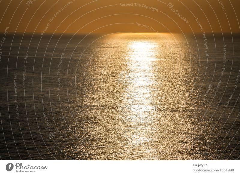 Ausklang Himmel Natur Ferien & Urlaub & Reisen Sommer Wasser Sonne Meer Landschaft ruhig Ferne gelb Traurigkeit Freiheit Horizont gold Warmherzigkeit