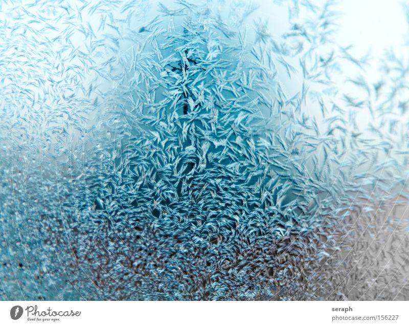 Eiskristalle kalt Winter Frost Hintergrundbild Wasser Raureif blau Muster glänzend Eisblumen Kristallstrukturen gefrorene Struktur Schnee Detailaufnahme Blume