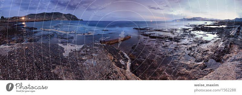 Nachtmarinepanorama. Frühlingsabend auf der Küste von Schwarzem Meer Erholung Ferien & Urlaub & Reisen Tourismus Sommer Berge u. Gebirge Natur Landschaft Wasser