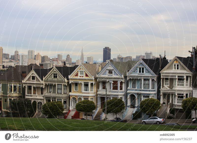 Skyline San Francisco Kalifornien Alamo Square Gebäude USA San Francisco Bay Wahrzeichen Denkmal Painted Ladies Viktorianische Villen