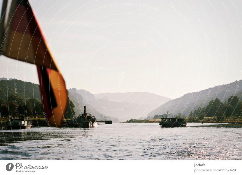 Auf der Elbe Natur Landschaft Wasser Schönes Wetter Pflanze Wald Hügel Felsen Berge u. Gebirge Wellen Flussufer Schifffahrt Binnenschifffahrt Bootsfahrt