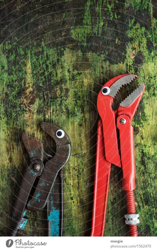 Du kannst mich mal..... Arbeit & Erwerbstätigkeit Beruf Handwerker Arbeitsplatz Baustelle Dienstleistungsgewerbe Werkzeug Schere Tier 2 sprechen grün rot