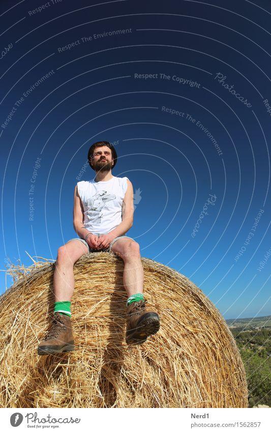 Strohmann Zufriedenheit Erholung Ausflug Abenteuer Sommer maskulin Junger Mann Jugendliche Erwachsene Bart Beine 1 Mensch 18-30 Jahre Himmel Gras Feld sitzen