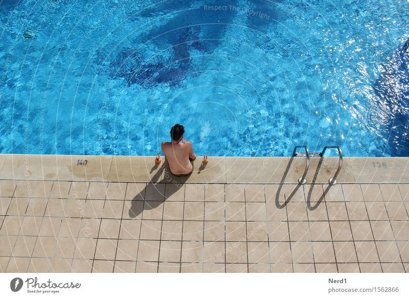 Pool Boys Schwimmbad Schwimmen & Baden Freizeit & Hobby Spielen Ferien & Urlaub & Reisen Sonnenbad Wellen maskulin Haut Kopf Rücken 1 Mensch genießen blau