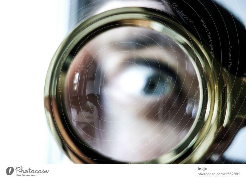 checkup Lifestyle Freude Bildung Wissenschaften Erwachsenenbildung Schule Studium Spitzel Frau Leben Auge 1 Mensch Lupe beobachten Blick nerdig Neugier rund
