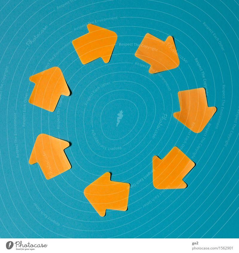 Kreislauf blau gelb sprechen Bewegung orange Schilder & Markierungen Kommunizieren Hinweisschild Zeichen planen rund Güterverkehr & Logistik Sicherheit