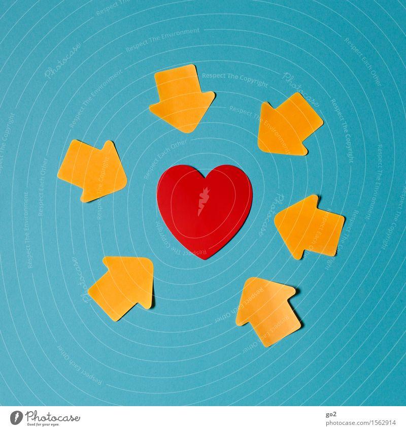 All you need is... Glück Gesundheit Gesundheitswesen Leben Zeichen Herz Pfeil Klischee blau orange rot Gefühle Lebensfreude Frühlingsgefühle Sympathie