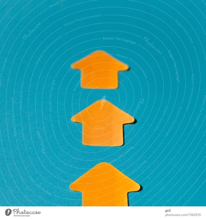 Aufwärts blau gelb sprechen Business oben orange Kraft Schilder & Markierungen Erfolg Perspektive Beginn Zukunft einfach Hinweisschild Zeichen Unendlichkeit