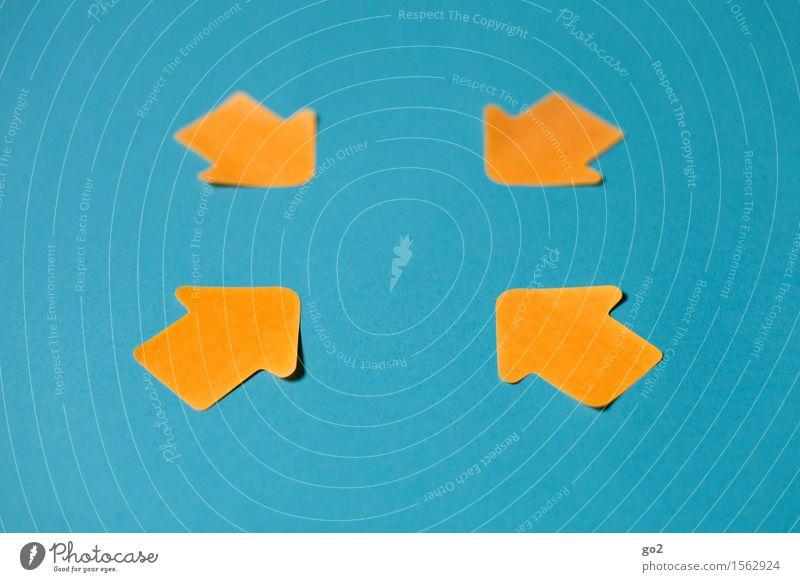 Orientierung blau gelb sprechen Business orange Ordnung Schilder & Markierungen Beginn Hinweisschild Zeichen planen Ziel Team Kontakt Pfeil türkis