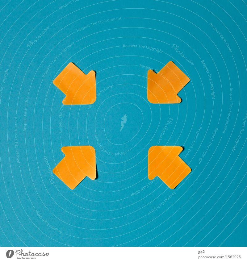 Zentriert blau gelb sprechen Zusammensein orange Ordnung Schilder & Markierungen Kommunizieren Hinweisschild Zeichen planen Team Zusammenhalt Kontakt Pfeil