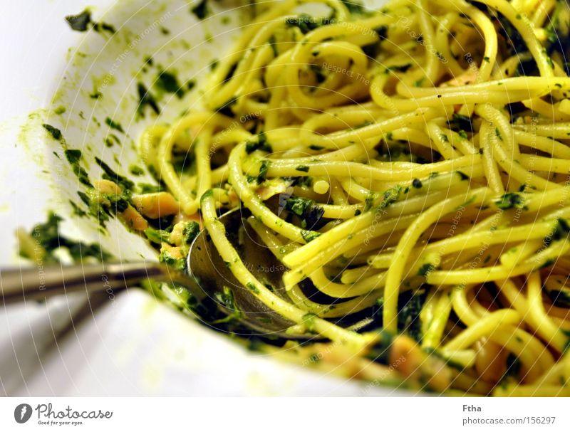 Bon appetito in grün Ernährung Fisch Italien Appetit & Hunger Teller Nudeln Spaghetti Pinie Lachs Speise aufgegessen Spinat Pinienkern