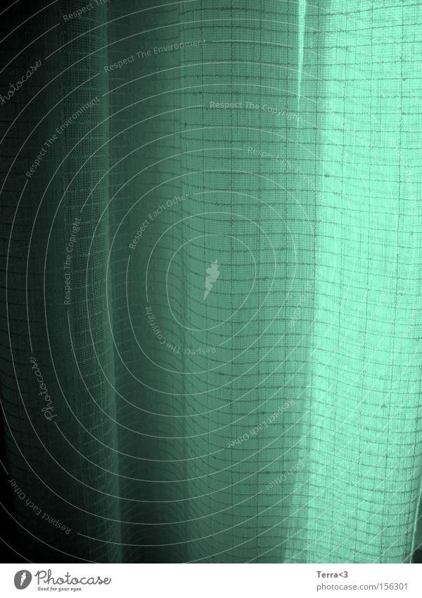 green grün blau Minze Vorhang Gardine Stoff fallen Falte Nähen Schatten Licht hell dunkel Schleier Fenster Versteck Häusliches Leben Dekoration & Verzierung