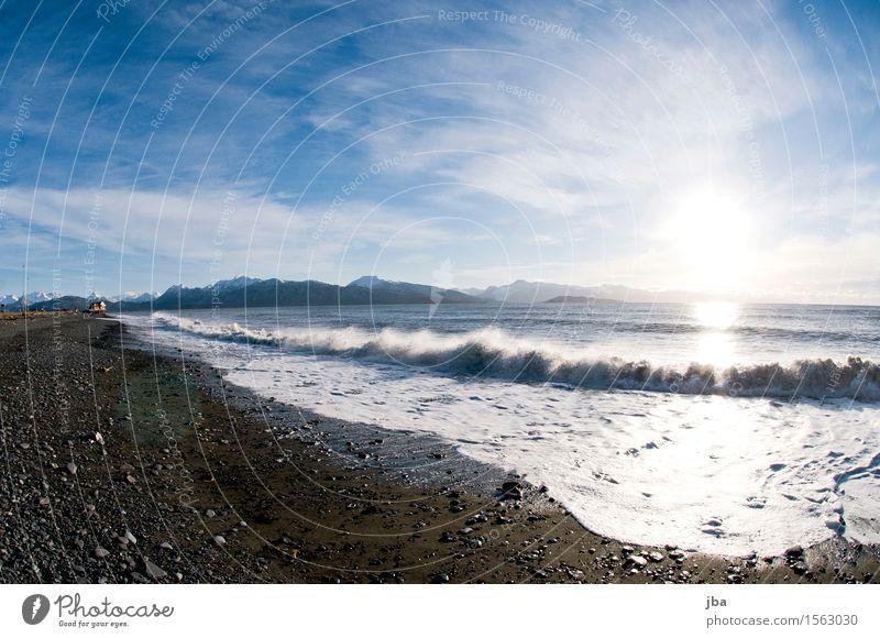 Wellen im Gegenlicht- Alaska 32 Leben Wohlgefühl Ferien & Urlaub & Reisen Ausflug Ferne Freiheit Strand Meer Natur Landschaft Urelemente Luft Wasser Sonne
