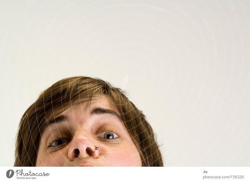 Versehen Auge Blick Frau Freisteller Nasenring tauchen lustig gehen verschwunden Am Rand stumm Freude wegfallen Anschnitt