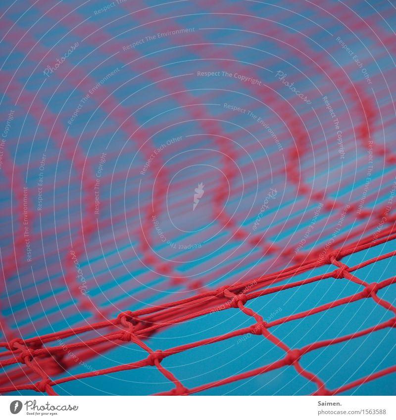 Netzwerk Linie blau rot Strukturen & Formen Wellenlinie geknüpft Knoten Halt Muster Farbfoto mehrfarbig Außenaufnahme Nahaufnahme Detailaufnahme Menschenleer