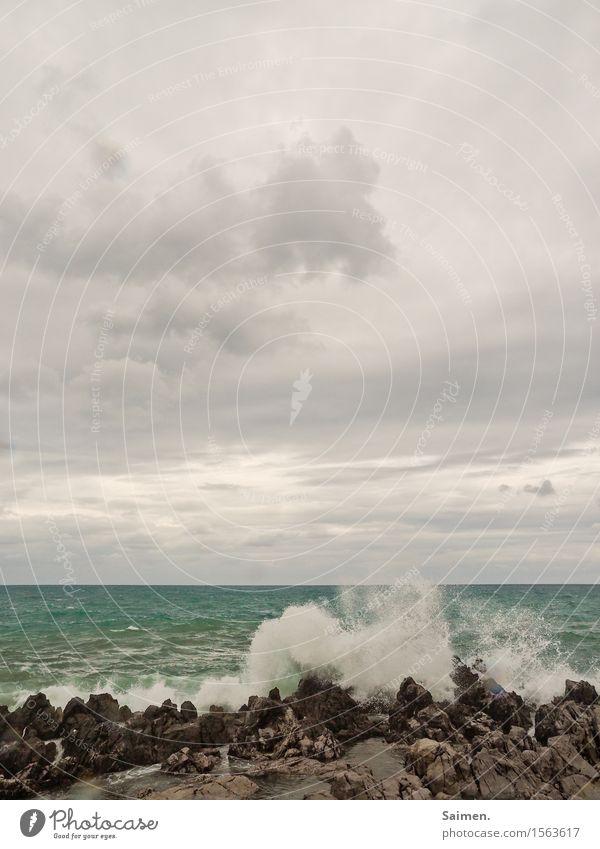 Wellenbrecherei Urelemente Luft Wasser Himmel Wolken Sommer Küste Meer Kraft Macht Stein Wellenbruch bedrohlich Wasserspritzer Felsen Farbfoto Gedeckte Farben