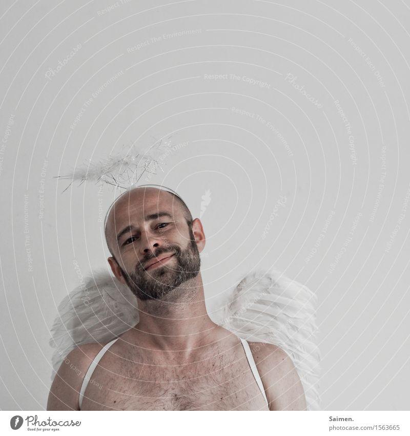 Engel der Weißheit Mensch Mann nackt Gesicht Erwachsene Religion & Glaube Glück Kopf maskulin Zufriedenheit Kraft Flügel Lebensfreude Unendlichkeit rein Bart