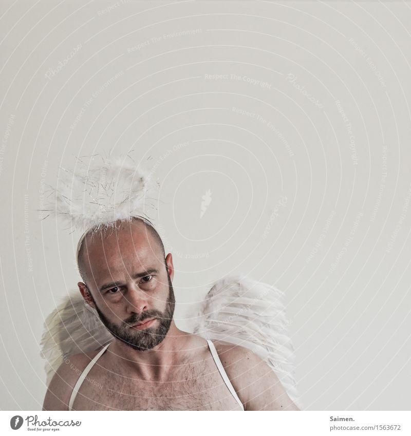 500 / Du kommscht hier ned rein! Mensch Mann nackt Gesicht Erwachsene Gefühle Tod Kopf maskulin Angst verrückt bedrohlich Neugier Hoffnung Glaube Kitsch