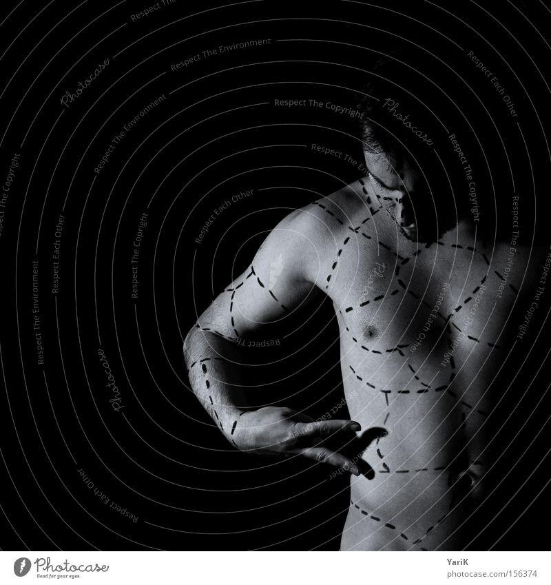 basteln Mann Hand schwarz nackt Linie Körper Finger Teile u. Stücke Basteln geschnitten Schere Anleitung Moral Chirurgie Philosophie Strichellinie