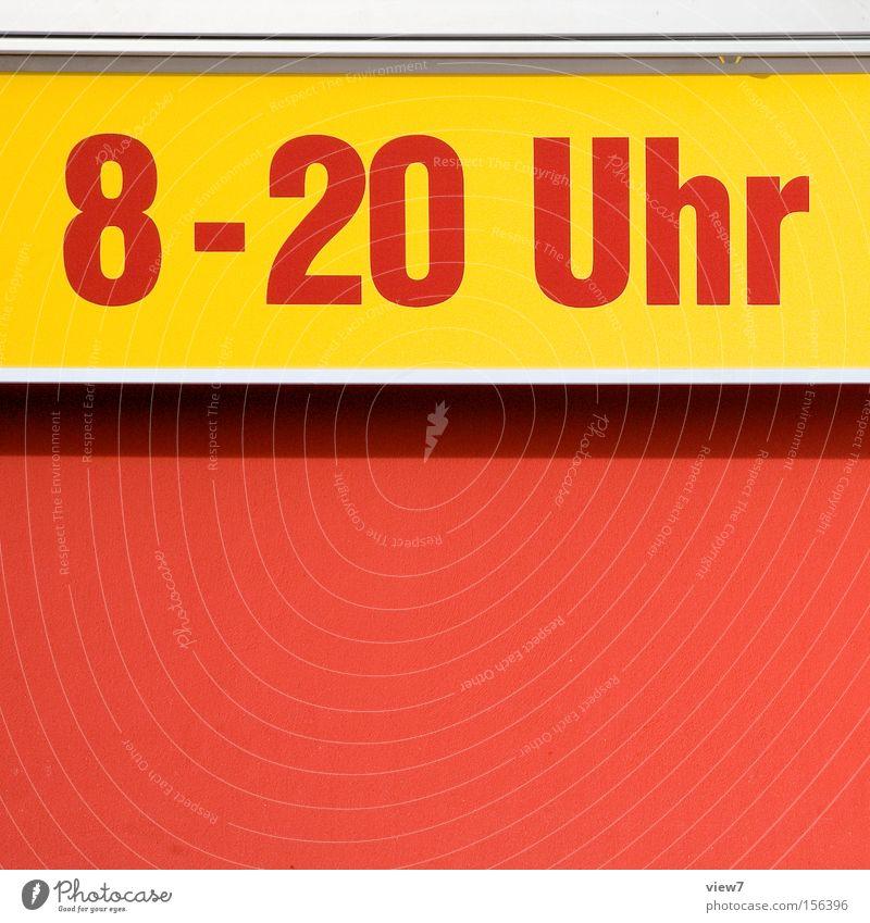 Öffnungszeiten Schilder & Markierungen Schriftzeichen Buchstaben Zeichen Hinweisschild Typographie Aufschlag gestikulieren Supermarkt Geschäftszeiten