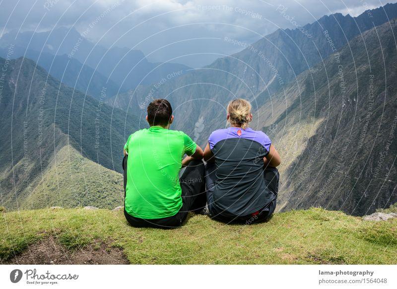 Zweisam Ferien & Urlaub & Reisen Abenteuer Ferne Camping Berge u. Gebirge wandern Paar Partner 2 Mensch Landschaft Schlucht Machu Pichu Peru Südamerika