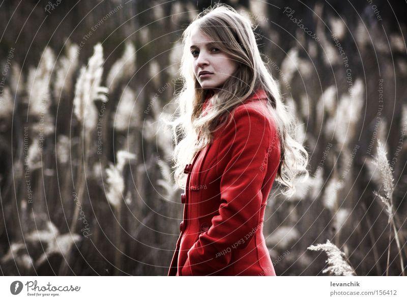 Frau schön rot Erwachsene Beautyfotografie mystisch Roggen