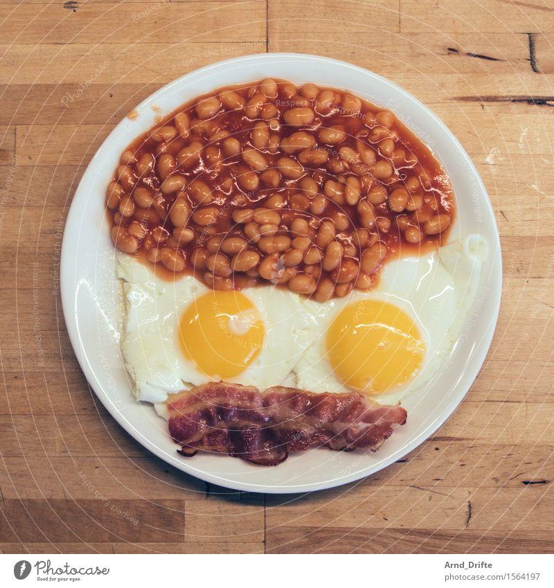 Marsianer Frühstück Gesicht Essen Ernährung Tisch Genießen Appetit U0026 Hunger  Geschirr Teller Tischplatte Bohnen Holzplatte Außerirdischer