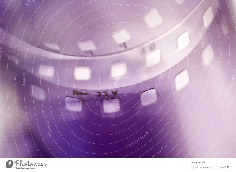 Fotoliebe negativ Filmmaterial Fotografieren Labor Schwarzweißfoto violett Makroaufnahme Nahaufnahme positiv 35 Millimeter Film Erfinden gerollt gelöchert