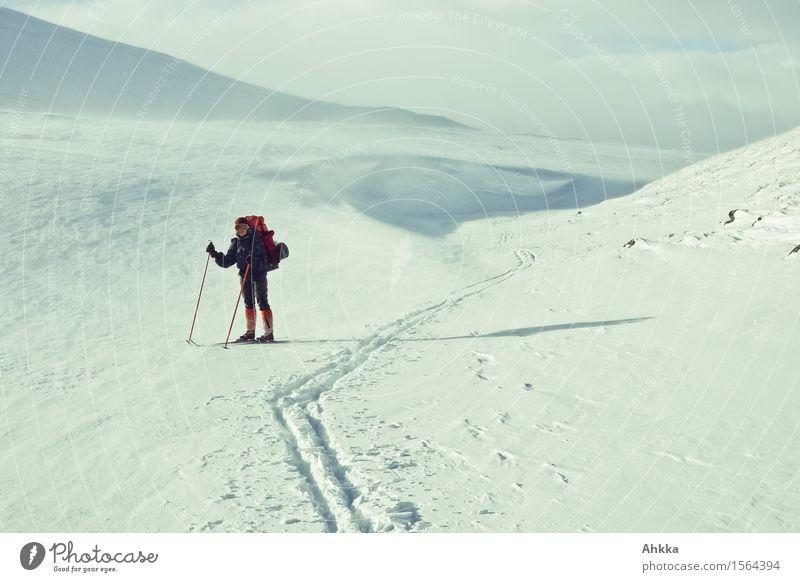 aldri sur. Mensch Jugendliche Junge Frau weiß Landschaft Einsamkeit Winter Berge u. Gebirge kalt Wege & Pfade Schnee Sport orange wild authentisch einzigartig