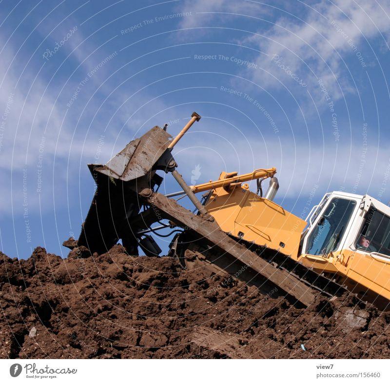 Bagger fahrn Kettenfahrzeug Planierraupe Baustelle Maschine Gerät schwer Diesel schieben Fahrer Arbeit & Erwerbstätigkeit dreckig Baumaschine Industrie Handwerk