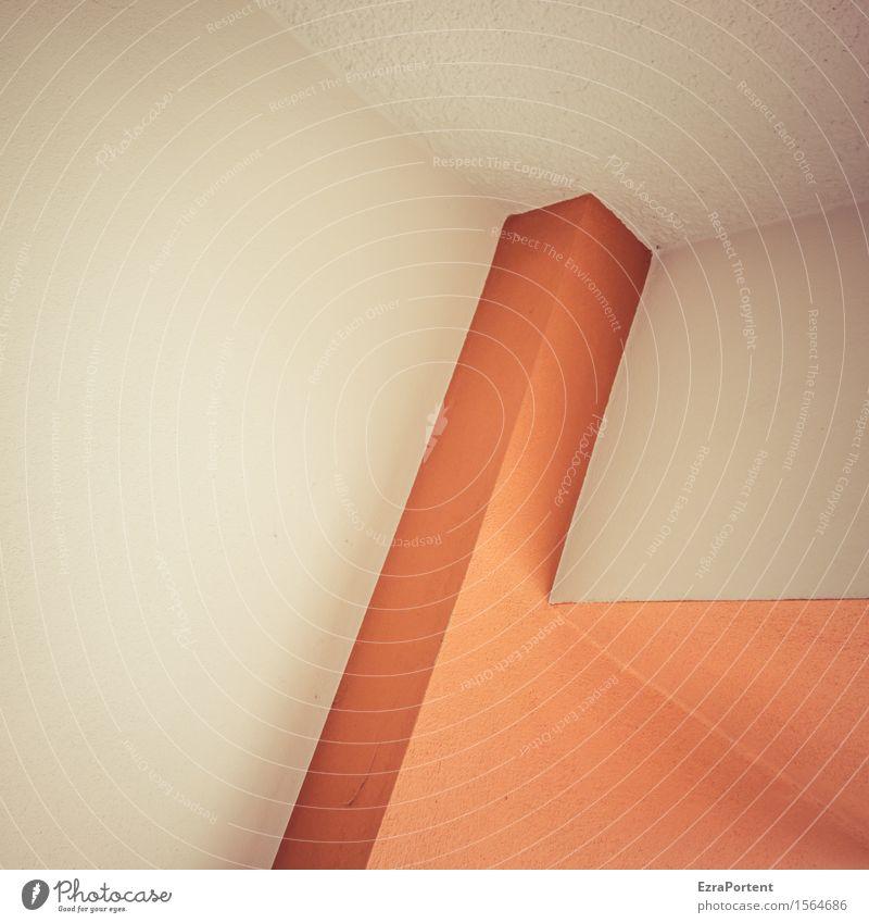 Eck Kunst Haus Bauwerk Gebäude Architektur Mauer Wand Fassade Beton Linie grau orange ästhetisch Design Farbe Ecke eckig Strukturen & Formen Geometrie
