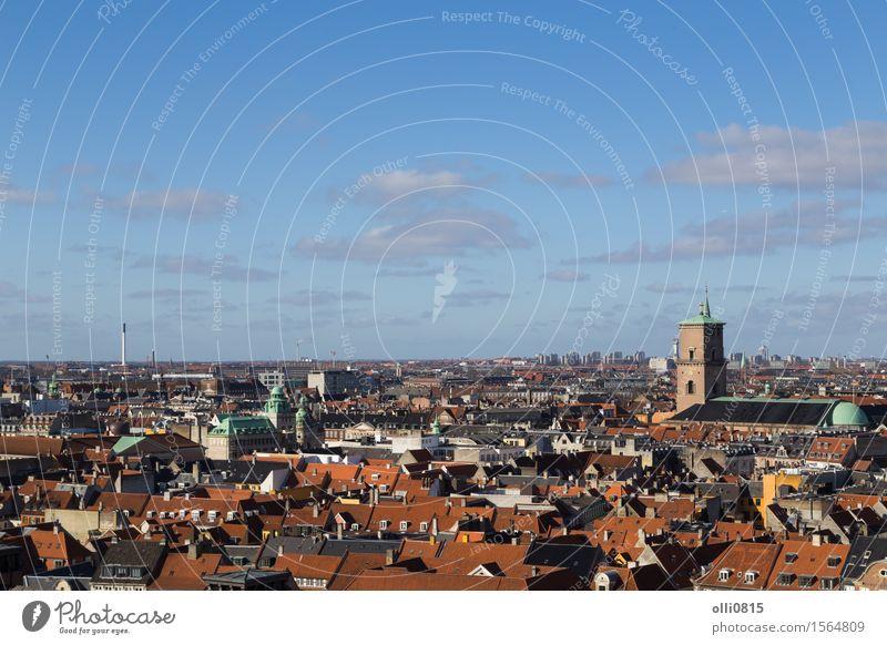 Kopenhagen Skyline Blick vom Christiansborg Turm Ferien & Urlaub & Reisen Tourismus Sightseeing Landschaft Horizont Ostsee Dänemark Europa Kleinstadt Stadt
