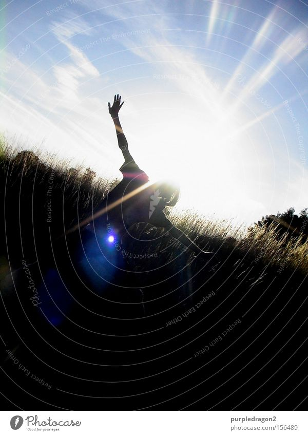 Ikarus Jugendliche Himmel Baum Sommer Freude Wolken Straße Wiese springen Gras lachen Tanzen Beleuchtung Licht Lichtpunkt Grufti