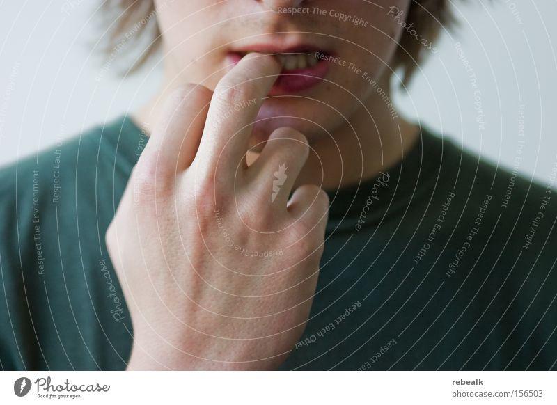 Prüfungsangst Mensch Jugendliche Hand Junger Mann Angst Ernährung maskulin Erfolg Finger Kommunizieren Konzentration Stress Platzangst Zukunftsangst