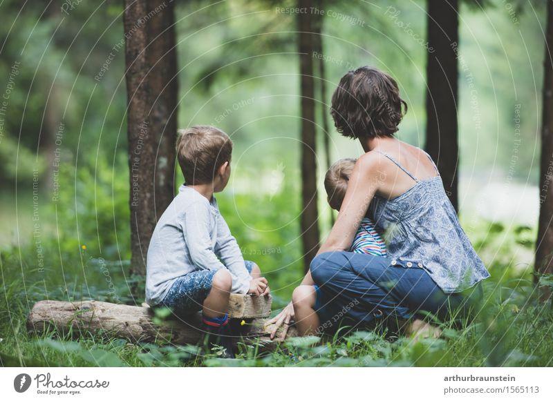 Junge Familie beobachtet im Wald Mensch Kind Natur Jugendliche Sommer Junge Frau Baum Erwachsene Umwelt Leben feminin Familie & Verwandtschaft maskulin