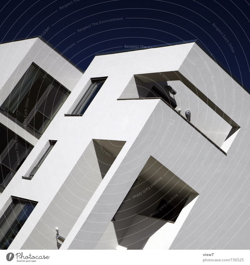 Architektur vier. Himmel Wand Fenster Mauer Glas Beton modern Ordnung Ecke Eckstoß bauen Weimar Bauhaus