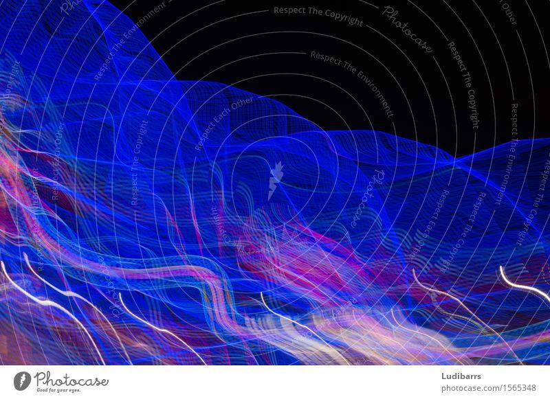 Abstrakte blaue und rosa fließende Lichter Freude Kunst außergewöhnlich Coolness hell schwarz türkis Fröhlichkeit Gelassenheit Farbe Farbintensität Kräusel