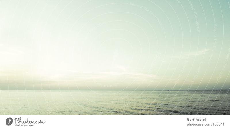 Bali Sunset Ferien & Urlaub & Reisen Tourismus Ferne Freiheit Sommer Sommerurlaub Meer Wellen Landschaft Wasser Himmel Ruderboot exotisch schön blau gelb grün
