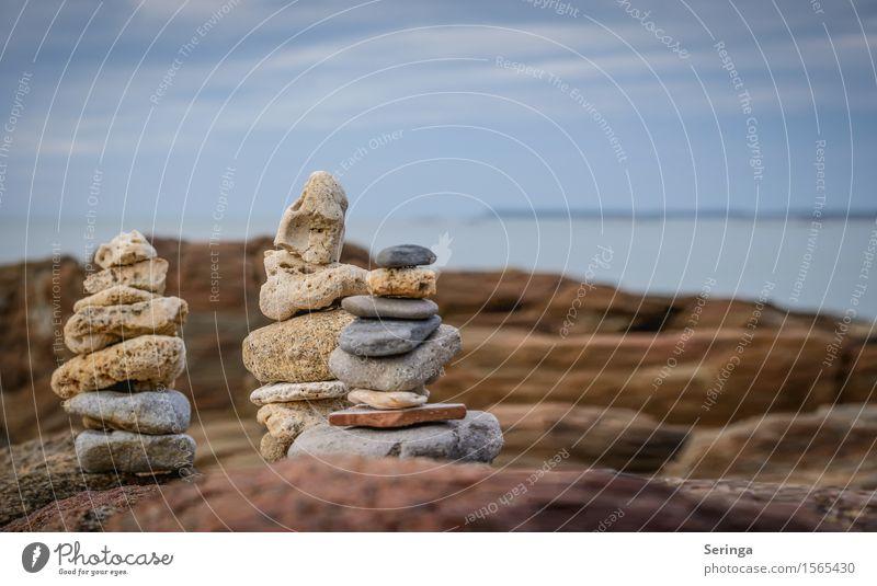 Steinmännchen Himmel Natur Ferien & Urlaub & Reisen Sommer Sonne Meer Landschaft Ferne Strand Frühling Küste Freiheit Sand Horizont träumen