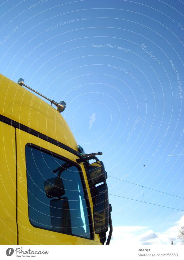 Horn Please gelb Straße Arbeit & Erwerbstätigkeit Verkehr Industrie fahren Güterverkehr & Logistik Spiegel Lastwagen Dienstleistungsgewerbe Mobilität Handel Unternehmen Fahrzeug Verkehrsmittel Arbeiter