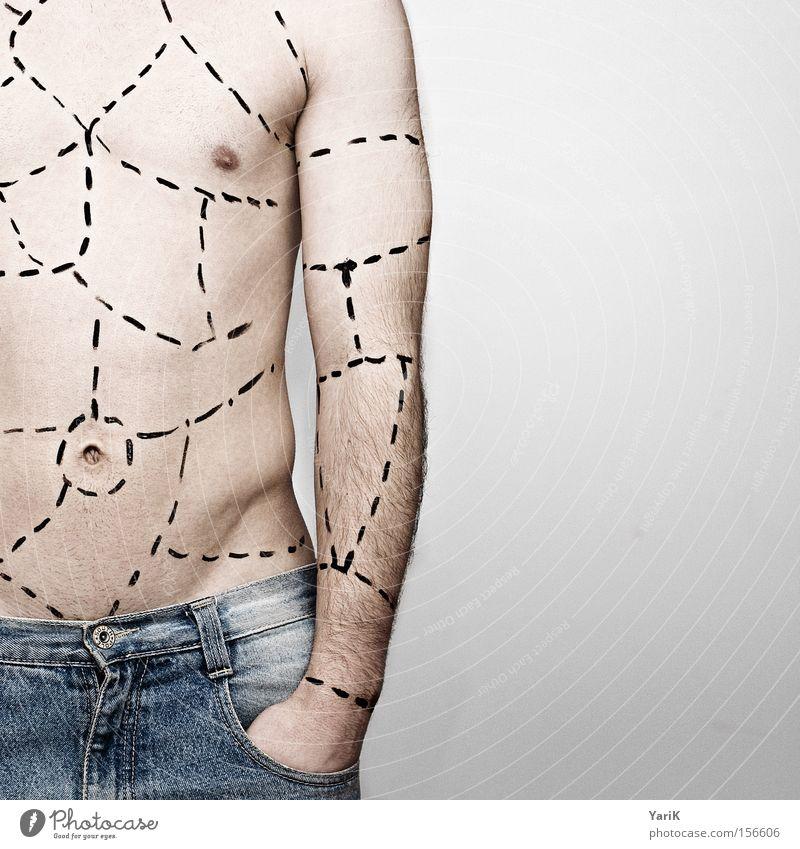 bastelanleitung geschnitten Linie Mann nackt Körper Basteln Teile u. Stücke Arme Strichellinie Plastische Chirurgie Körperkunst Körperfett Körperzelle Körpermaß