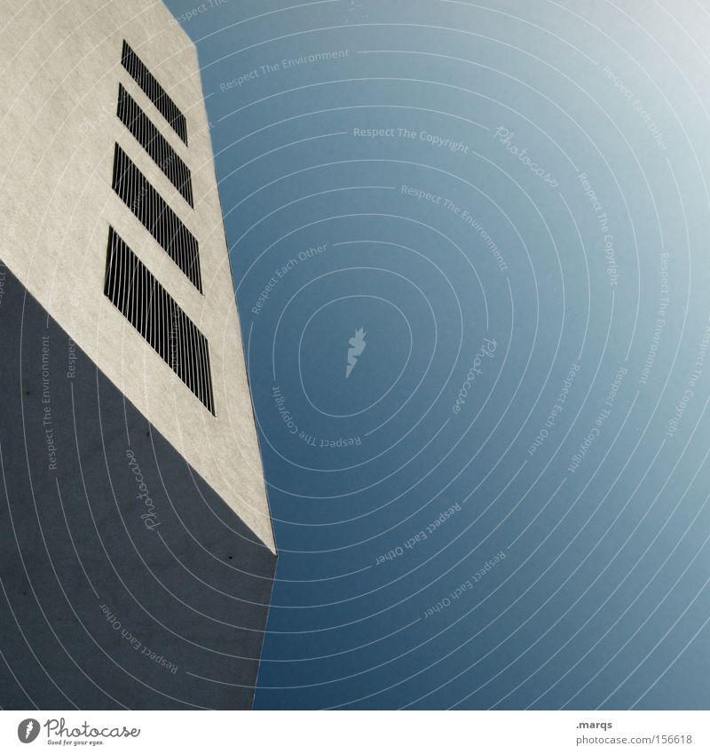 4 Himmel blau Haus Stil Gebäude Linie hell Architektur Design elegant hoch Fassade ästhetisch Ecke Bankgebäude