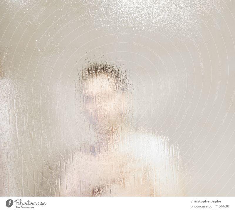 shower show Mensch Kopf Glas Haut Aktion Wassertropfen beobachten Reinigen Bad Sauberkeit Wellness Körperpflege anonym Spa Sauna Unter der Dusche (Aktivität)