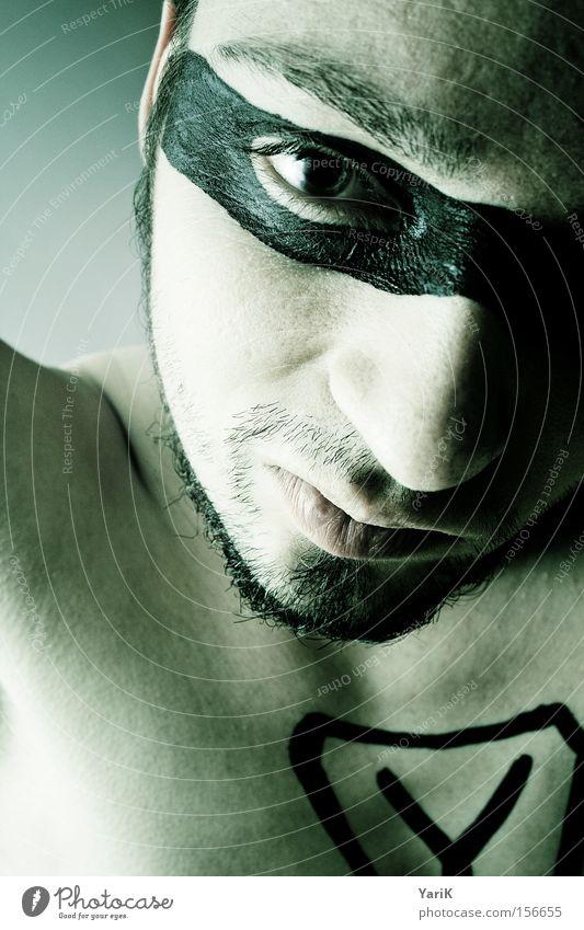 Y Mann grün Gesicht Auge Kopf Mund Brille Maske Bart Held Prima Tarnung Ypsilon