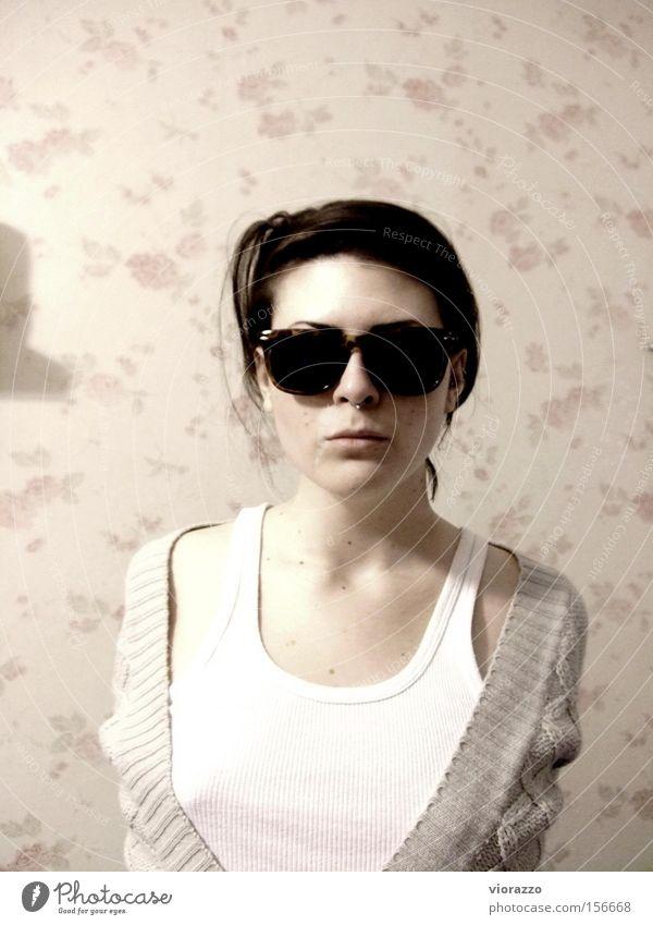 mafiosa. Frau Coolness Macht T-Shirt Brille Hemd Sonnenbrille Unterwäsche Stoff trendy Mafia Unterhemd Feinripp Ray-Ban