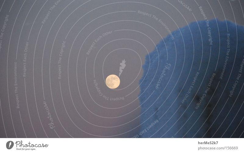 Mondlicht Winter Straße Schnee Eis Pfosten Eiskristall Mondschein