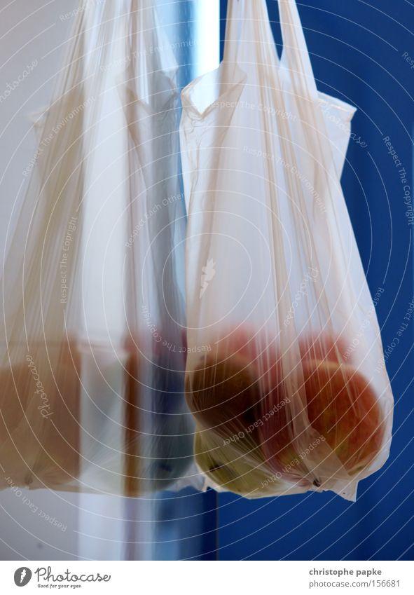 Tüte voll Obst Frucht frisch Ernährung Kunststoff Apfel Gastronomie Bioprodukte Vitamin Qualität Supermarkt Vegetarische Ernährung Plastiktüte sparsam Obstladen