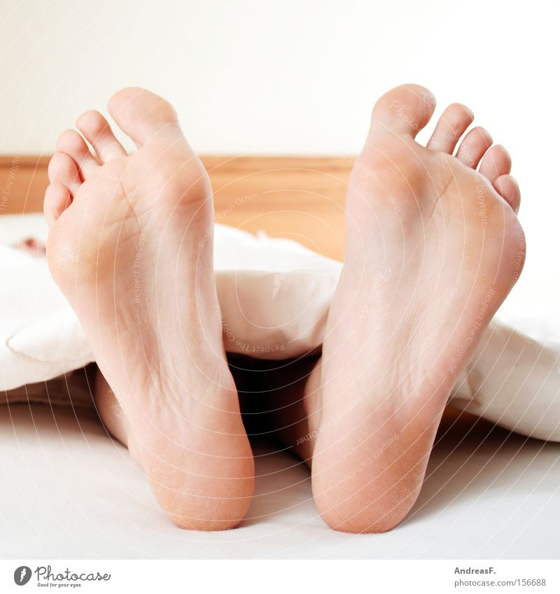 Zeh(e)n Frau Fuß Haut schlafen Bett Langeweile kuschlig Barfuß Zehen Schlafzimmer Bettdecke Sonntag Fußsohle Fußpilz Hornschicht