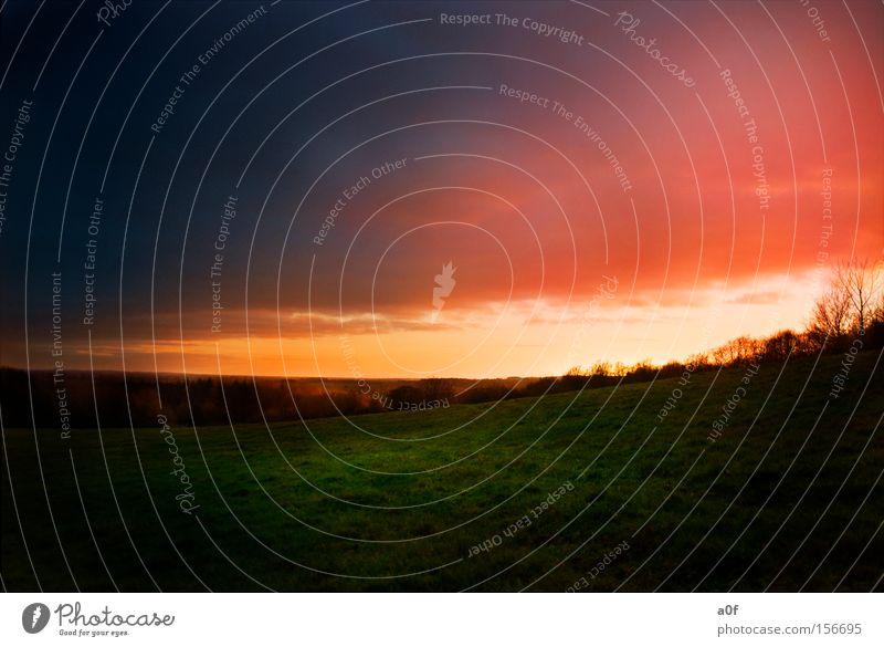 sundown Sonnenuntergang rot Wiese orange Farbe außerirdisch Wolken Abenddämmerung Kontrast Hügel HDR hüttener berge a0f
